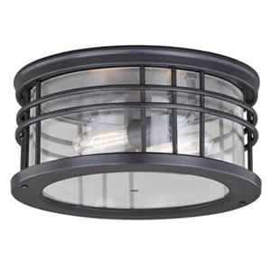 Cascadia Wrightwood 2-Light Black Round Outdoor Flush Mount Ceiling Light