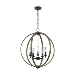 Feiss Allier Collection 24-in x 27.88-in Weathered Oak Wood Clear Glass 5-Light Pendant Light