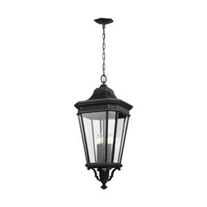Feiss Cotswold Lane Collection 13.62-in x 31-in Black Clear Glass 4-Light Lantern Pendant Light