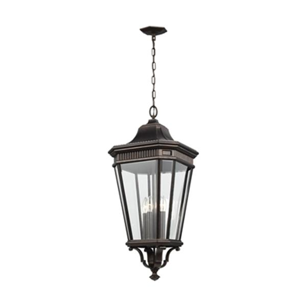 Feiss Cotswold Lane Collection 13.62-in x 31-in Grecian Bronze Clear Glass 4-Light Lantern Pendant Light