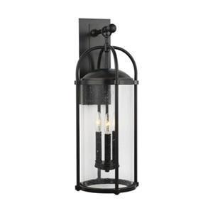 Feiss Dakota 3-Light Espresso Outdoor Wall Lantern.