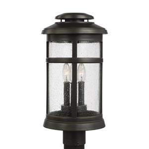 Feiss Newport 3-Light Antique Bronze Post Lantern.