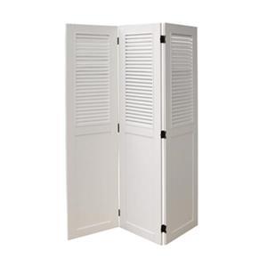 Sunset Trading 54-in x 38-in White Shutter Wood Room Divider