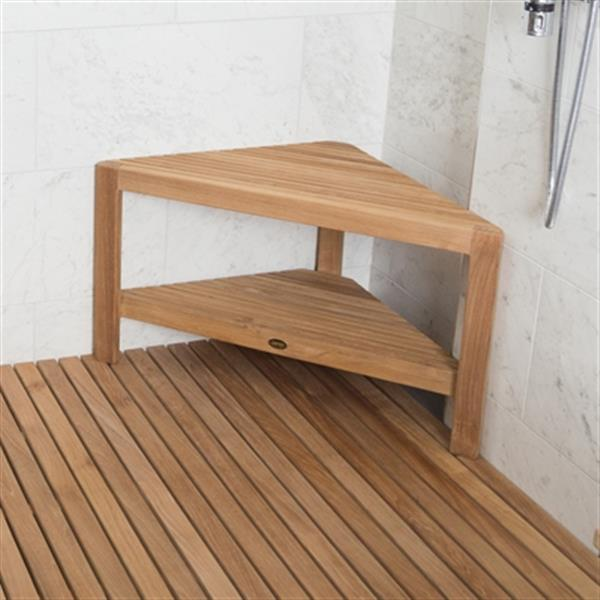 "Fiji Corner Shower Bench with Shelf - 18"" - Wood - Natural"