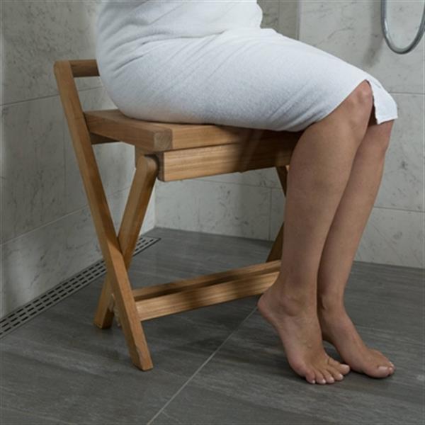 """Banc de douche pliable avec poignée, 17"""", teck, brun"""