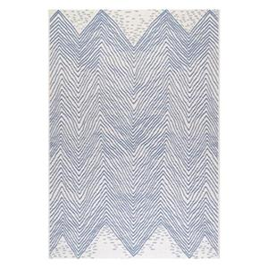nuLOOM Wavy Chevron 6-ft x 9-ft Blue Outdoor Rug