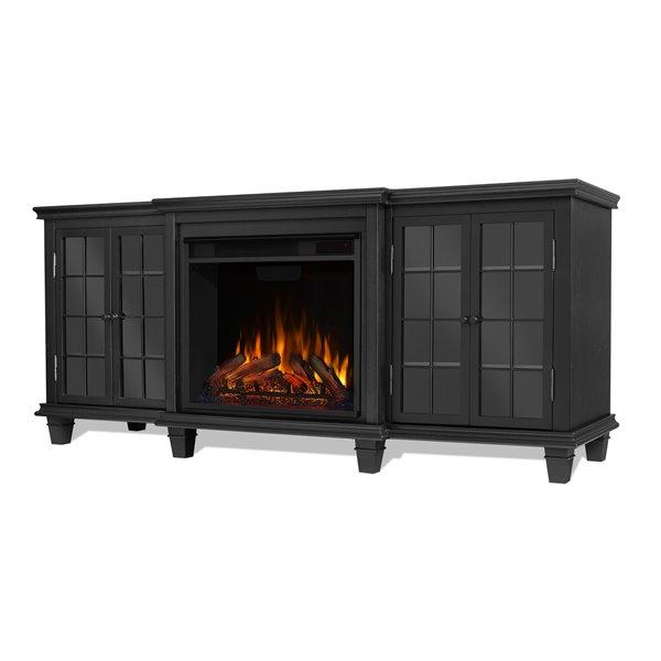 Foyer électrique Marlowe Real Flame noir pour centre de divertissement, 30,44 po x 70 po