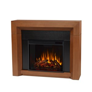 Real Flame Hughes 35-in x 42-in Vintage Black Maple Electric Fireplace