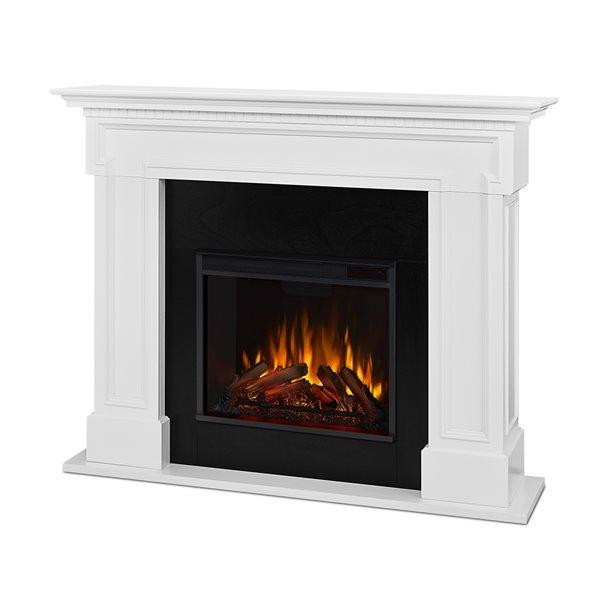 Foyer électrique blanc Thayer Real Flame 44,88 po x 54,38 po