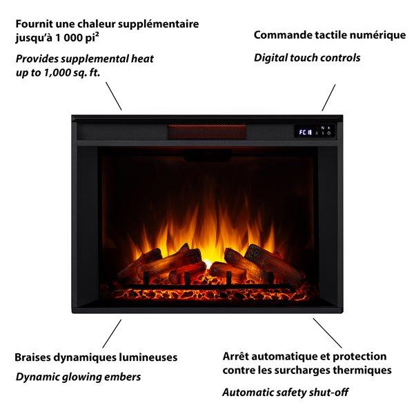 Foyer électrique avec rangement audio-vidéo Tracey, 5 100 BTU, noir