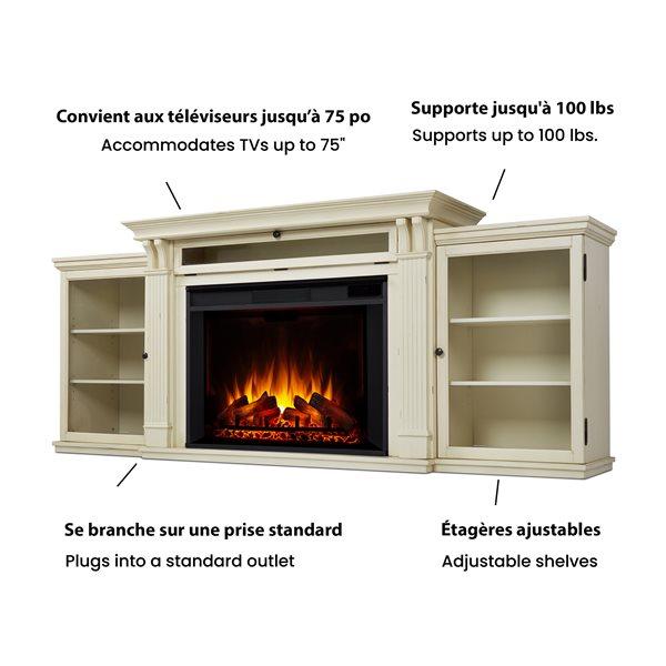 Foyer électrique blanc Tracey Grand de Real Flame pour centre de divertissement, 34,5 po x 83,75 po