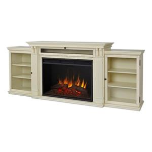 Real Flame Tracey Grand 34.5-in x 83.75-in White Entertainment Center Electric Fireplace
