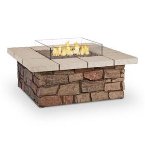 "Real Flame Sedona Square Propane Fire Table - 38.25"" x 19"" - Faux Stone"