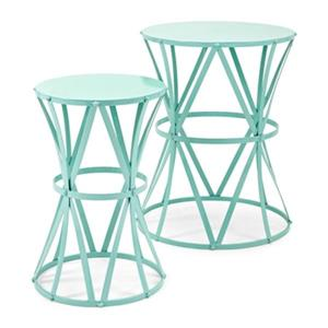 IMAX Worldwide Hillary Teal Accent Tables (Set of 2)
