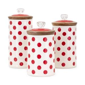 IMAX Worldwide Trisha Yearwood Berry Patch Polka Dot Canisters (Set of 3)