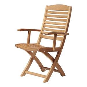 ARB Teak & Specialties Manhattan 38-in x 22-in Brown Outdoor Folding Arm Chair