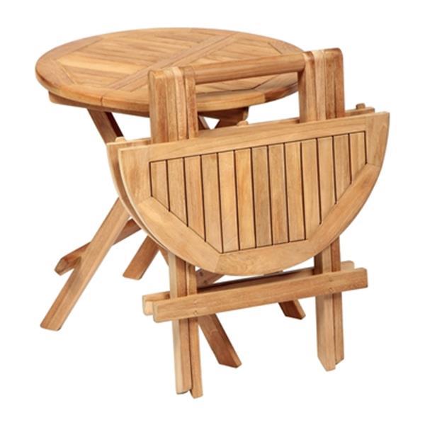 ARB Teak & Specialties 20-in x 20-in Teak Round Outdoor Folding Side Table