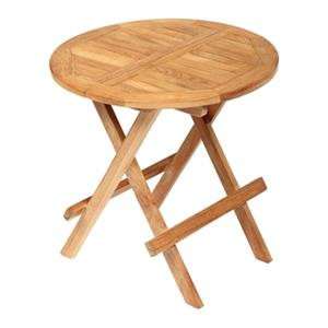 ARB Teak & Specialties 20-in x 20-in Teak Round Outdoor Folding Side Table
