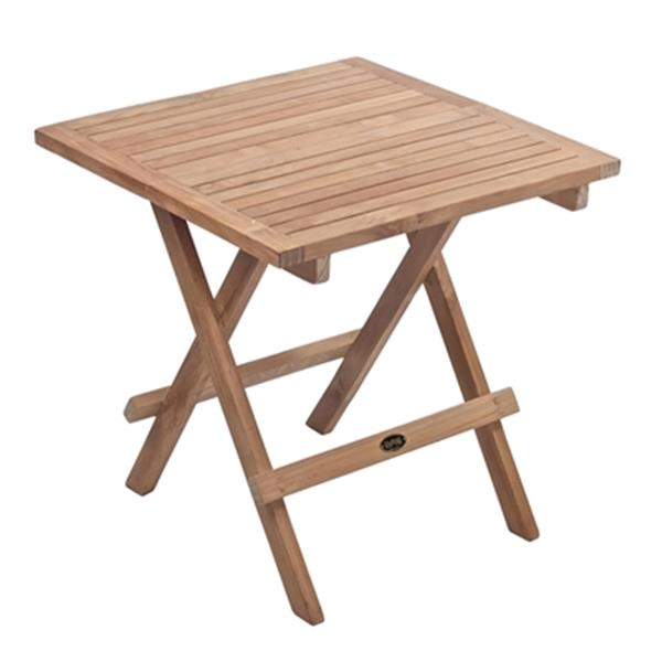 "Square Folding Side Table - 20"" x 20"" - Teak - Natural Wood"
