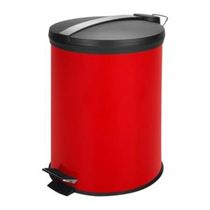 Honey Can Do 16-in x 4-in x 13-in Red & Black Metal 12 L Pedal Trash Can