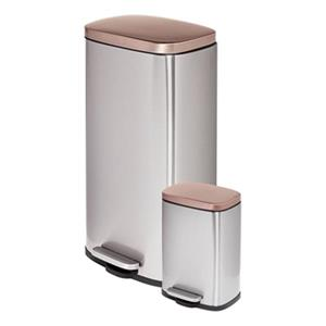 Honey Can Do Silver and Rose Gold 30 L & 3 L Round Soft-Close Trash Can Combo