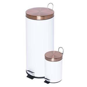 Honey Can Do White and Rose Gold 30L & 3L Round Soft-Close Trash Can Combo