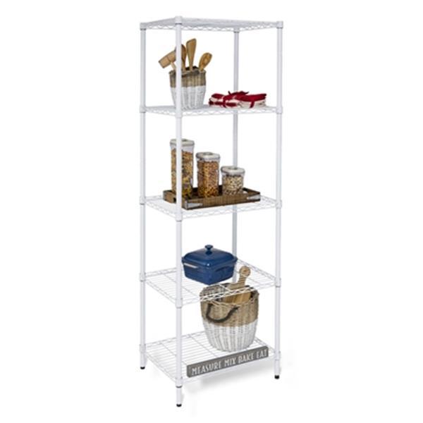 Honey Can Do White 5 Tier Heavy Duty Adjustable Storage Shelving Unit