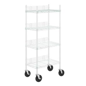 Honey Can Do White Adjustable Storage Shelving Unit with Wheels