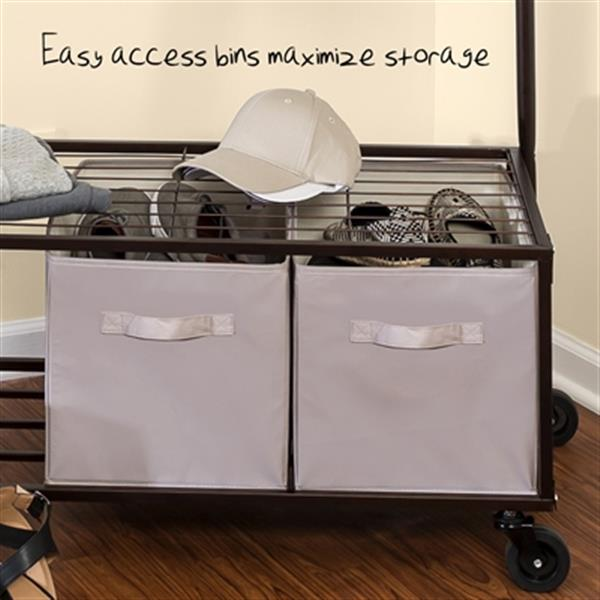 Honey Can Do Bronze Portable Garment Rack with Storage Bins,