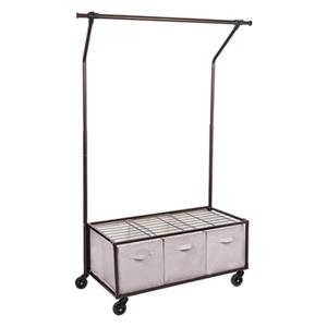 Honey Can Do Bronze Portable Garment Rack with Storage Bins,