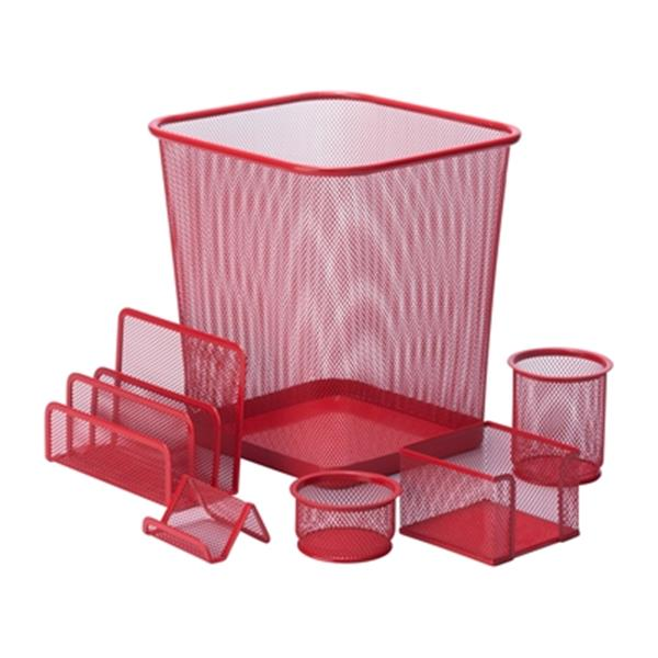 Honey Can Do 6 pc Red Mesh Desk Set