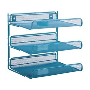 Honey Can Do 12.50-in x 2.91-in Blue 3 Tier Mesh Desk Organizer