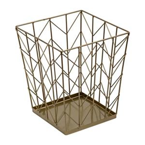 Honey Can Do 12-in x 10-in x 10-in Bronze Chevron Decorative Trash Can