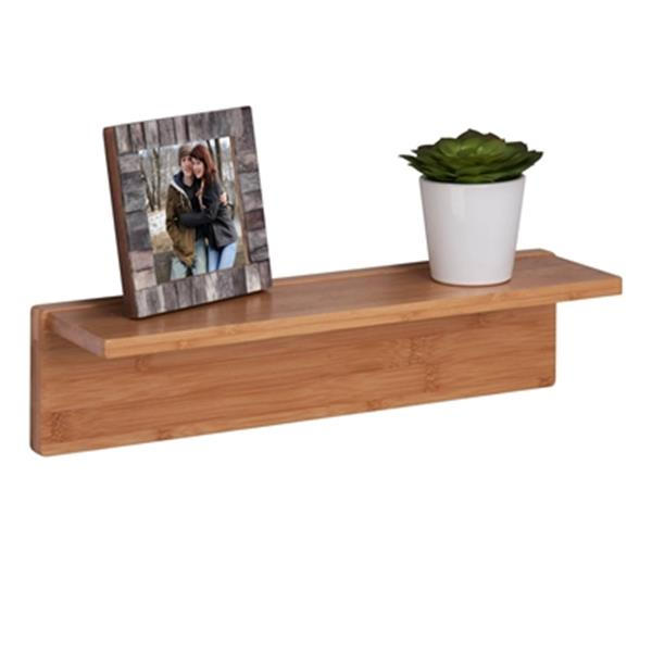 Honey Can Do 15.75-in Bamboo L-Shaped Wall Shelf