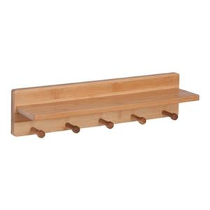 Honey Can Do Bamboo Wall Shelf with Pegs