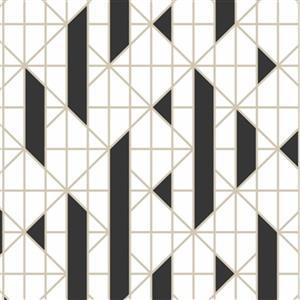 Graham & Brown Kelly Hoppen 56 sq ft Black/White Linear Unpasted Wallpaper