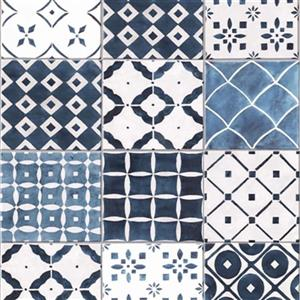Graham & Brown Strata 56 sq ft Blue Porches unpasted Wallpaper