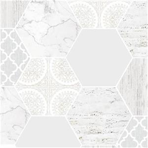 Graham & Brown Strata 56 sq ft Grey Hexagonal Marble Unpasted Wallpaper