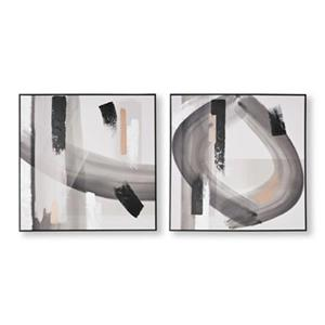 Graham & Brown 31.50-in x 31.50-in Monochrome Radiance Abstract Hand Painted Canvas (Set of 2)