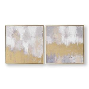 Graham & Brown 19.70-in x 19.70-in Laguna Mist Abstract Hand Painted Canvas (Set of 2)
