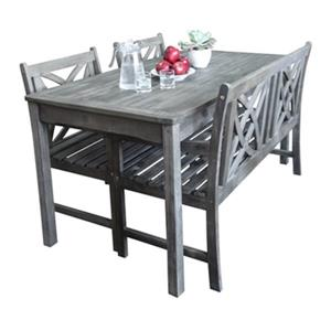 Vifah Renaissance Outdoor Patio Hand-Scraped 4-Piece Wood Dining Set