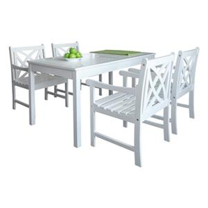 Vifah Bradley Outdoor Patio 5-Piece Wood Dining Set