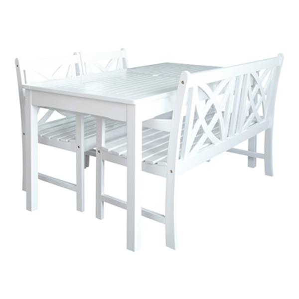 Vifah Bradley Outdoor Patio 4 Piece Wood Dining Set With Bench