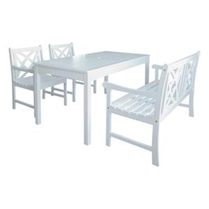 Vifah Bradley Outdoor Patio 4-Piece Wood Dining Set With Bench