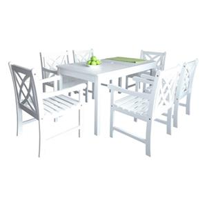 Vifah Bradley Outdoor Patio 7-Piece Wood Dining Set