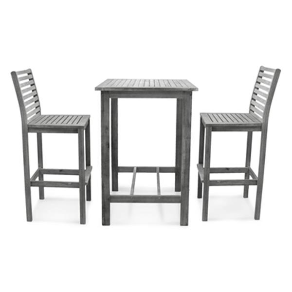 Vifah Renaissance Outdoor Patio Hand Scraped Wood 3-Piece Bar Set
