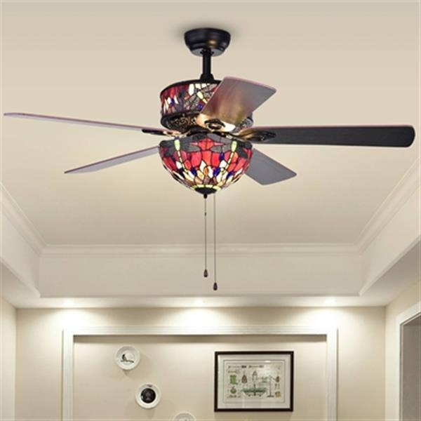 Warehouse of Tiffany Jalev 52-in Black 6-Light Ceiling Fan