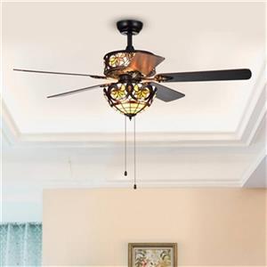 Warehouse of Tiffany Jyrku 53.9-in Black 6-Light Ceiling Fan