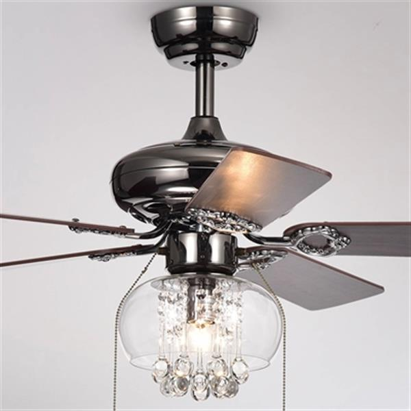 Warehouse of Tiffany Aequor 42-in Satin Glass and Crystal Ceiling Fan