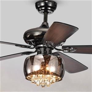 Warehouse of Tiffany Nettle 52-in Black 3-Light Ceiling Fan
